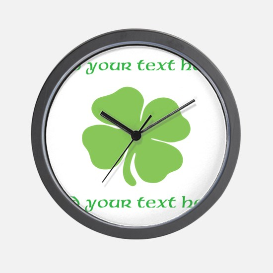 St. Patricks Day personalisable shamrock Wall Cloc
