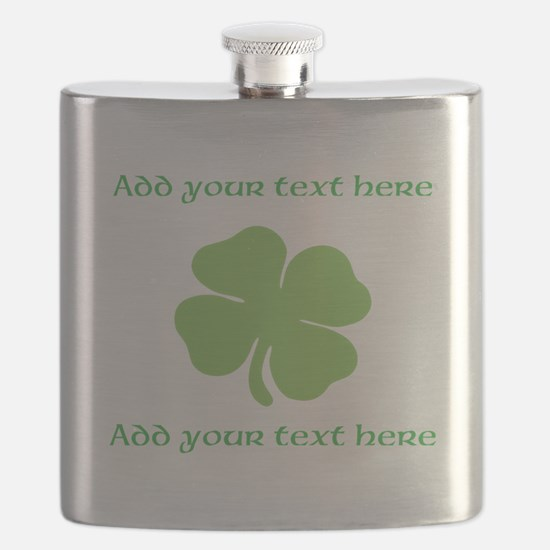 St. Patricks Day personalisable shamrock Flask
