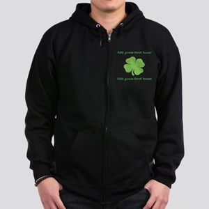 St. Patricks Day personalisable shamrock Zip Hoodi