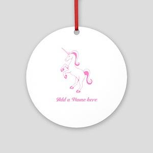 Personalisable Pink Unicorn Round Ornament