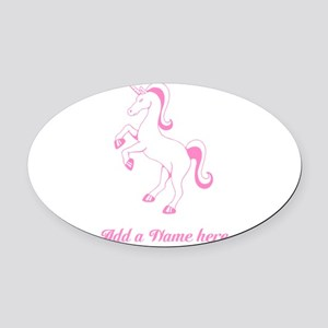 Personalisable Pink Unicorn Oval Car Magnet