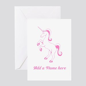 Girly personalized greeting cards cafepress personalisable pink unicorn greeting cards m4hsunfo
