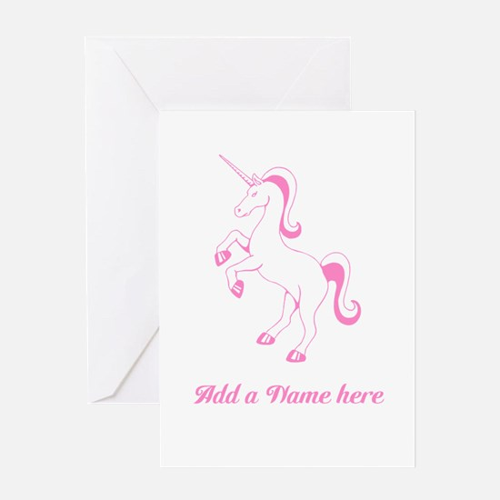 Personalisable Pink Unicorn Greeting Cards
