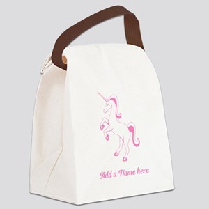 Personalisable Pink Unicorn Canvas Lunch Bag