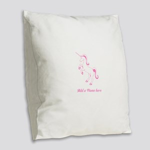 Personalisable Pink Unicorn Burlap Throw Pillow