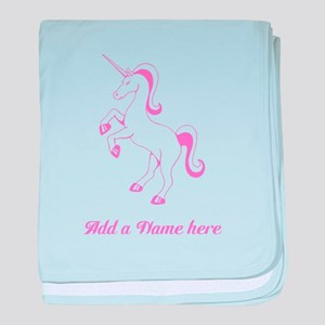 Personalisable Pink Unicorn baby blanket
