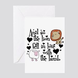 The lion fell in love with the lamb Greeting Cards