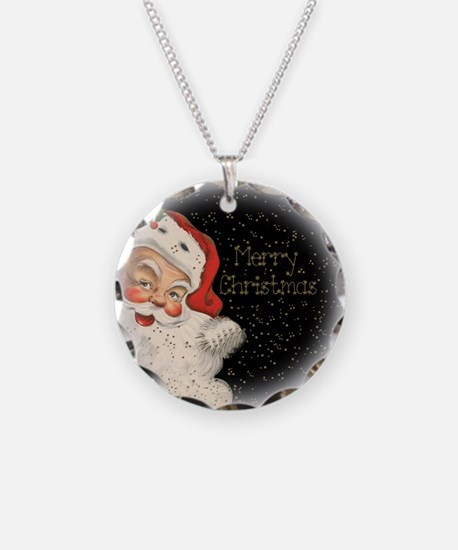 Santa in the stars Necklace Circle Charm