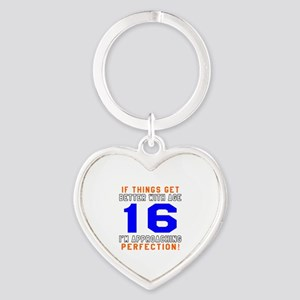 16 I'm Approaching Perfection Birth Heart Keychain