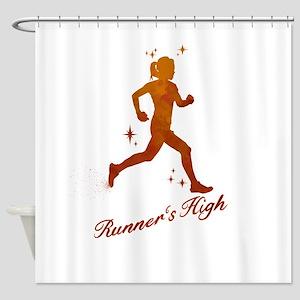 Womens Runner's High Shower Curtain
