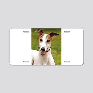 White and Tan Greyhound Aluminum License Plate
