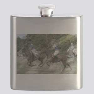 Trio of Polo Ponies at Full Gallop Flask