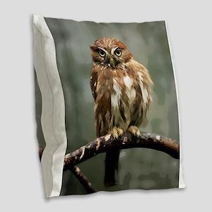 Fat Fluffy Pygmy Owl Burlap Throw Pillow