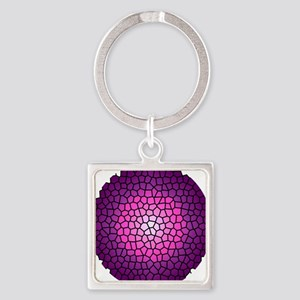 Circle Violet Stained Glass Keychains