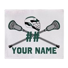 Personalized Crossed Lacrosse Sticks Throw Blanket