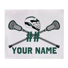 Personalized Crossed Lacrosse Sticks Throw Blanket