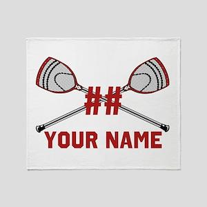 Personalized Crossed Goalie Lacrosse Throw Blanket
