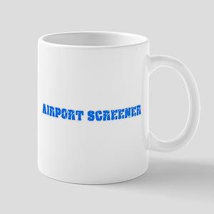 Airport Screener Blue Bold Design Mugs