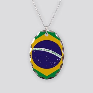 Brasil Flag Necklace Oval Charm