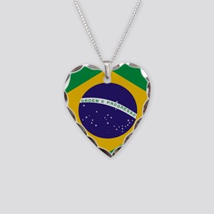 Brasil Flag Necklace Heart Charm