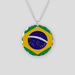 Brasil Flag Necklace Circle Charm