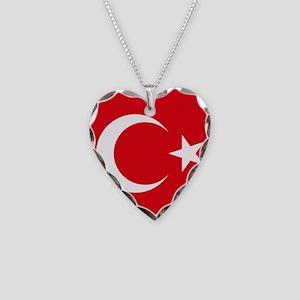 Turkey Flag Necklace Heart Charm