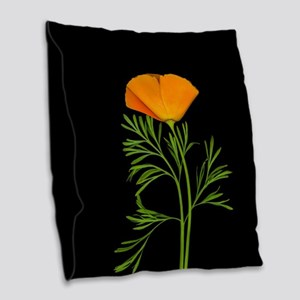 Golden Poppy Burlap Throw Pillow