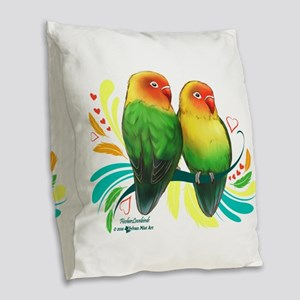 Fischer Lovebirds Burlap Throw Pillow