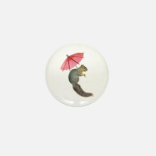 Squirrel Pink Parasol Mini Button