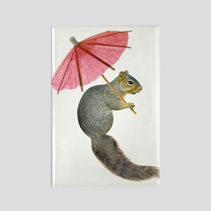Squirrel Pink Parasol Magnets