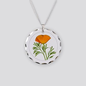 Golden Poppy Necklace Circle Charm