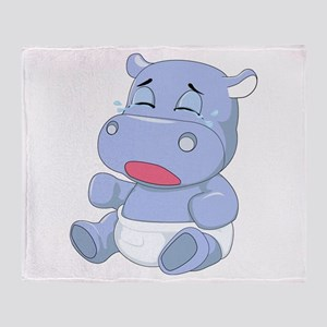 Baby Hippo Crying Throw Blanket
