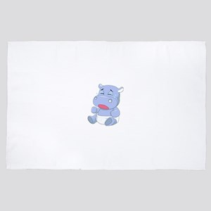 Baby Hippo Crying 4' x 6' Rug