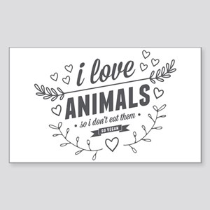 I Love Animals Sticker (Rectangle)
