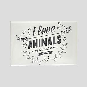 I Love Animals Rectangle Magnet