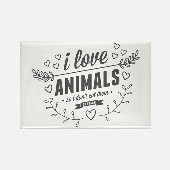 I Love Animals Rectangle Magnet