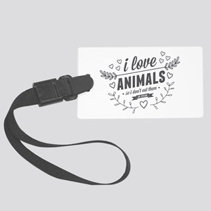 I Love Animals Large Luggage Tag