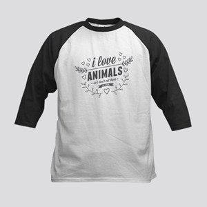 I Love Animals Kids Baseball Jersey