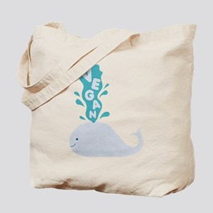 Blue Vegan Whale Tote Bag
