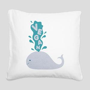 Blue Vegan Whale Square Canvas Pillow