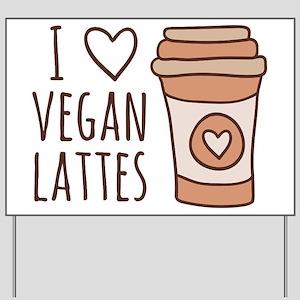 Brown I Heart Vegan Lattes Yard Sign