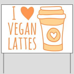 Orange I Heart Vegan Lattes Yard Sign