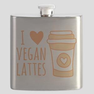 Orange I Heart Vegan Lattes Flask