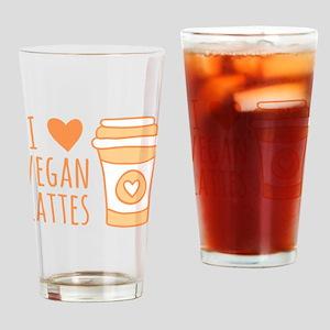 Orange I Heart Vegan Lattes Drinking Glass