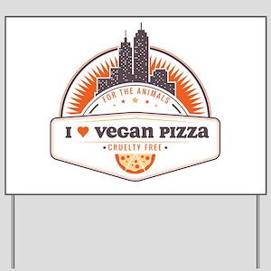 Orange I Heart Vegan Pizza Yard Sign