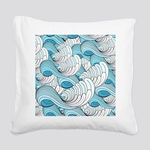 Ocean Waves Square Canvas Pillow