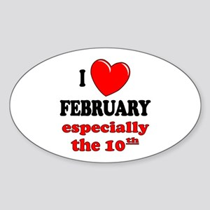 February 10th Oval Sticker