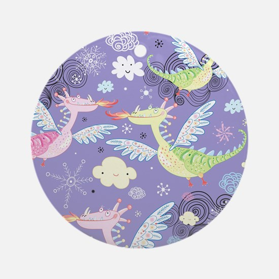 Cute Dragons Round Ornament