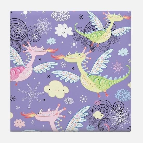 Cute Dragons Tile Coaster