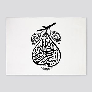 Arab Calligraphy Pear 5'x7'Area Rug